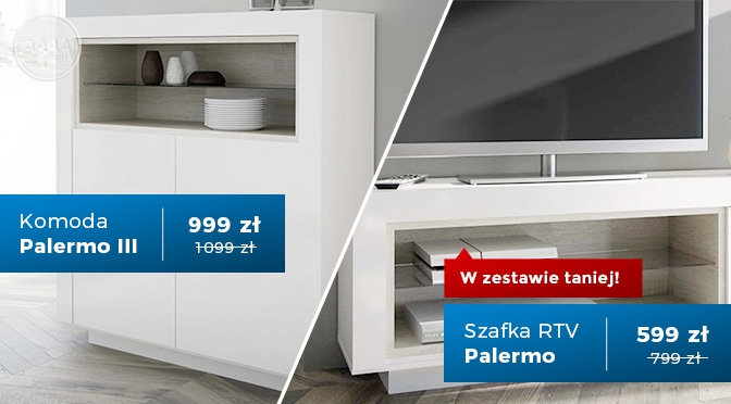 Zestaw mebli Komoda i szafka RTV Palermo III w promocji