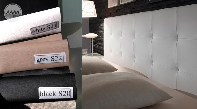 Łóżka z zagłówkiem tapicerowane ekoskórą