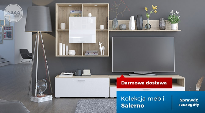 Białe meble z drewnem - kolekcja Salerno