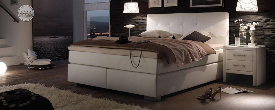 Białe łóżko z ekoskóry