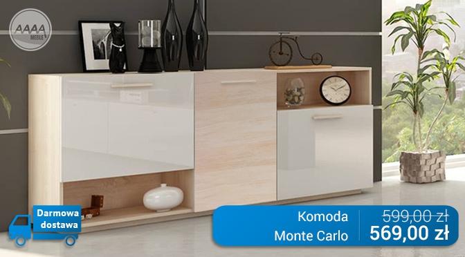 Komoda biała z drewnem z kolekcji mebli Monte Carlo