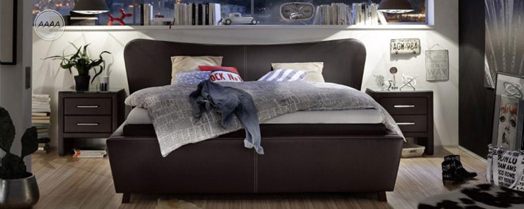 Łóżko ze sztucznej skóry