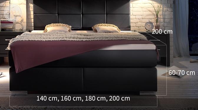 Wymiary łóżek kontynentalnych Boxspring